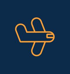 Simple plane logistic transportation line icon vector