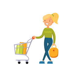 smiling woman pushing shopping cart girl shopping vector image