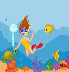 Snorkeling girl cartoon vector image