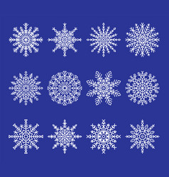 snowflakes collection on blue vector image