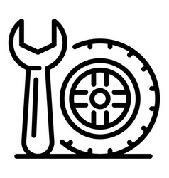 Spanner and wheel icon outline style vector