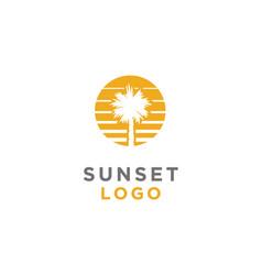 summer sunset beach palm tree sea logo vector image