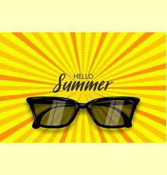 Summer time sunglasses halftone pop art vector