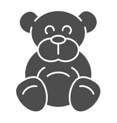 teddy bear solid icon plush toy vector image