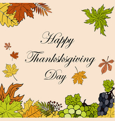 thanksgiving day greeting card with calligraphy vector image