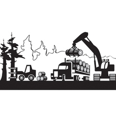 Timber harvesting in forest vector