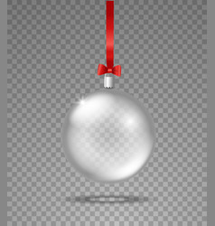 transparent glass christmas bauble object vector image