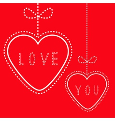 Two hanging red hearts with bows Love card vector image