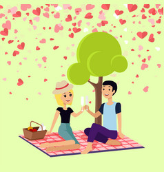 valentine picnic day couple sits on blanket vector image