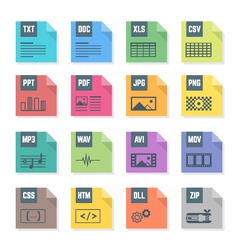 Various color file flat style formats icons set vector