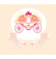 vintage floral carriage invitation vector image