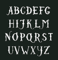 Vintage hand drawn decorative serif alphabet vector image