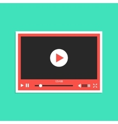 White and red video player interface sticker vector