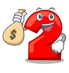 With money bag cartoon paper number two on letter vector