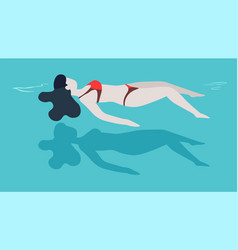 Woman in swimsuit swimming in pool on back girl vector