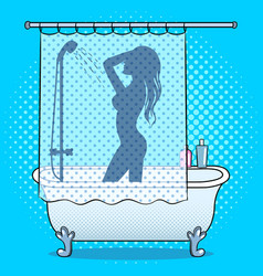 woman washing in shower pop art style vector image