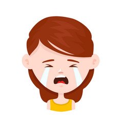 Woman young girl crying flat vector