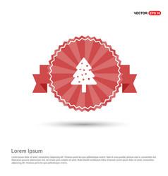 x-mas tree icon - red ribbon banner vector image