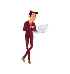 Young man searching information on laptop cartoon vector