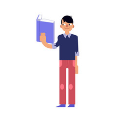 young man studying with reading book isolated on vector image