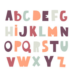 cute decorative alphabet in cutted style childish vector image