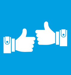 male hands showing ok sign icon white vector image vector image