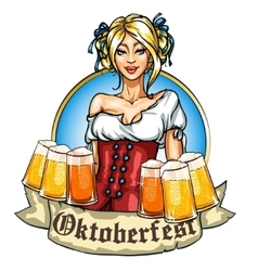 Pretty Bavarian girl with beer vector image vector image