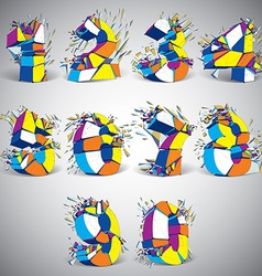 Set of abstract 3d faceted colorful numbers with vector image