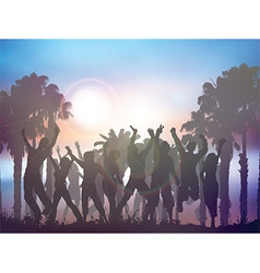 Sunset party background with palm trees vector image vector image