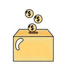 Box carton packing with money vector