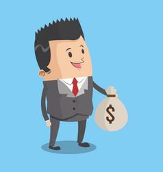 businessman with money bag cartoon vector image