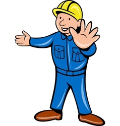 construction worker stop hand vector image vector image