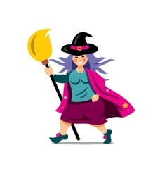 Halloween Witch with broomstick Cartoon vector image