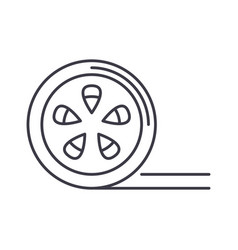 movie reel line icon sign on vector image vector image
