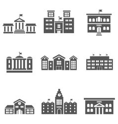 School building icons vector
