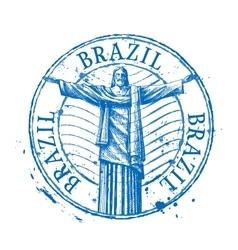 Brazil logo design template Shabby stamp vector image