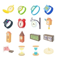 Clock and watch icons set cartoon style vector image vector image