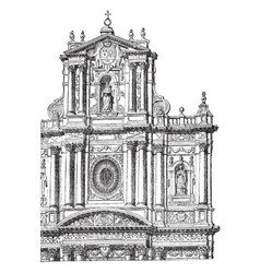 Faade of the church of st paul and st louis at vector
