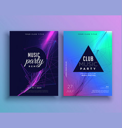 music party invitation poster template set vector image