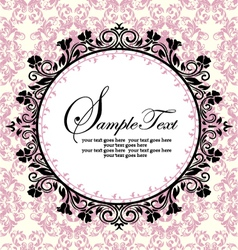 ornate frame on pink damask background vector image