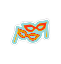 Paper sticker on white background christmas mask vector