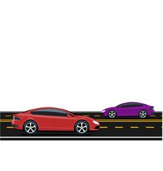 purple and red cars are driving along the road vector image vector image