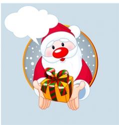 santa giving a gift card vector image vector image