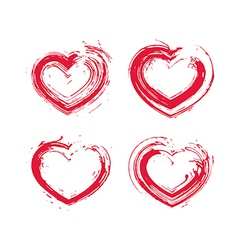 Set of hand-drawn red love heart icons loving vector image vector image