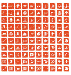 100 oppression icons set grunge orange vector image vector image