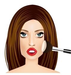 makeup artist applying powder brush to woman vector image