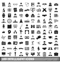 100 intelligent icons set simple style vector