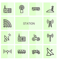 14 station icons vector
