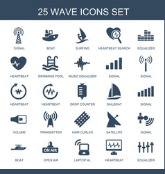 25 wave icons vector image