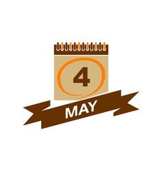 4 may calendar with ribbon vector